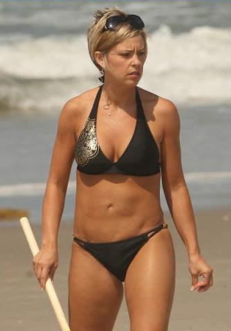 kate gosselin on beach with bikini clad